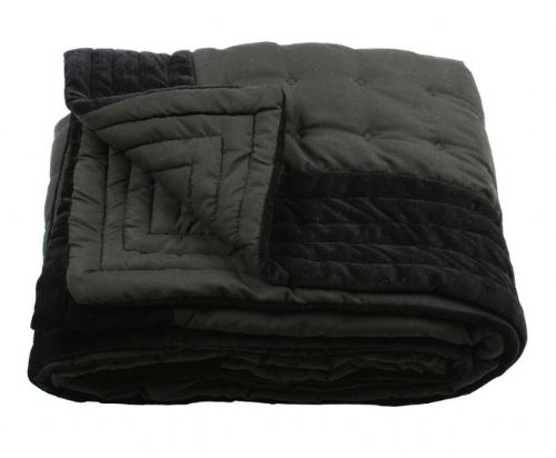 BLACK COLOUR DESIGNER QUILTED MICROFIBRE VELVET TEXTURED THROW